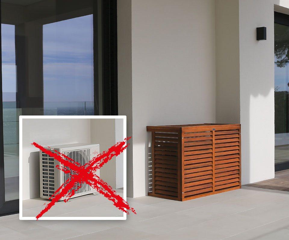 decoclim cache climatisation en bois exotique decoclim. Black Bedroom Furniture Sets. Home Design Ideas