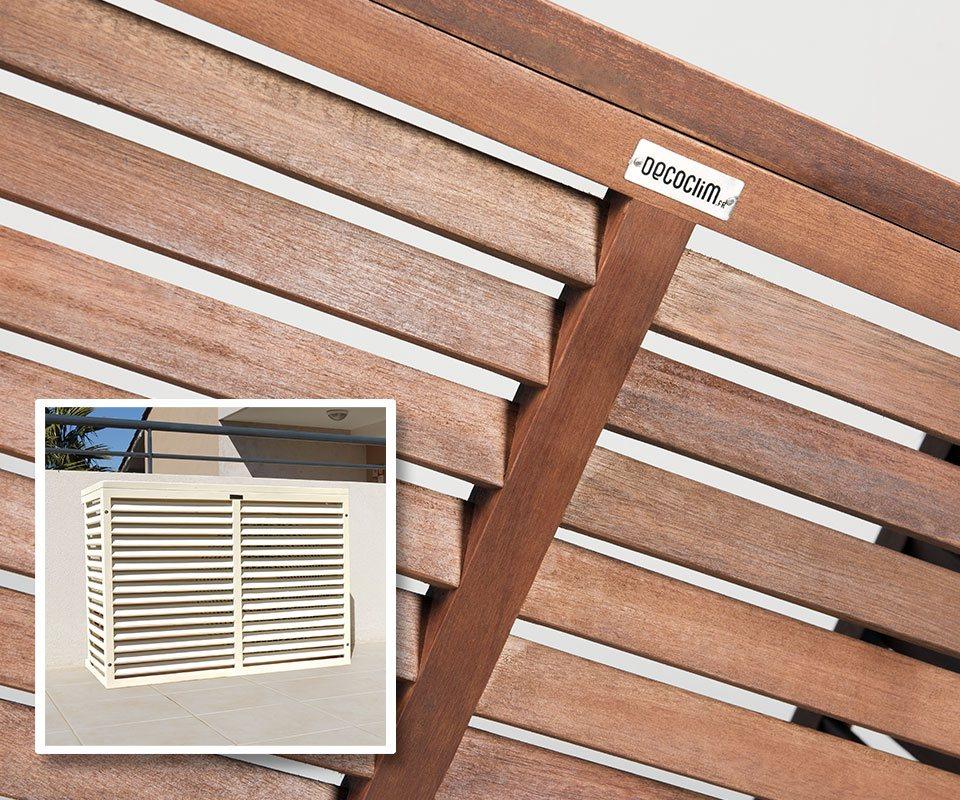 Decoclim cache climatisation en bois exotique decoclim - Quel bois pour l exterieur ...